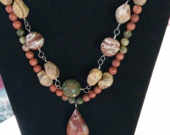 Handmade all sterling silver and gemstone necklace earrings and bracelet