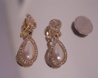 Goldtone, Rhinestone and Faux Pearl Drop Clip Earrings