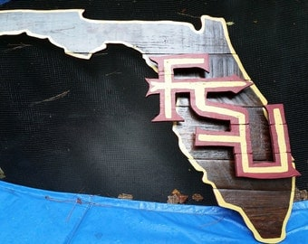 Florida State University FSU Wooden Pallet Hand Painted/Stained Logo