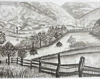Black and white scene in ink