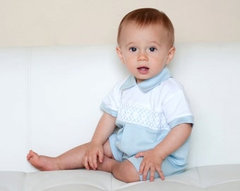 Baby Boys Organic Pima Cotton Smocked Romper with Hand Embroidery Christening