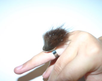 Recycled fur Adjustable ring