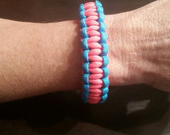 Hot pink and blue paracord bracelet