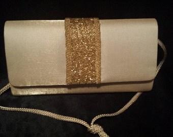 Taupe/gold beaded handbag