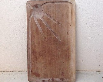 Rustic French Bread Meat Carving Chopping Board Vintage Juice Well Chunky Large