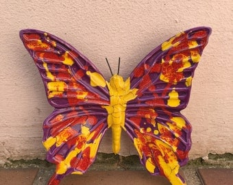 French BUTTERFLY WALL DECORATIVE provence moustier handmade 6