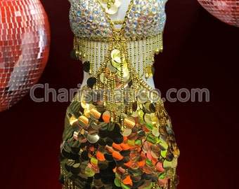 CHARISMATICO Jumbo Gold sequin accented Diva's salsa dress with bejeweled top