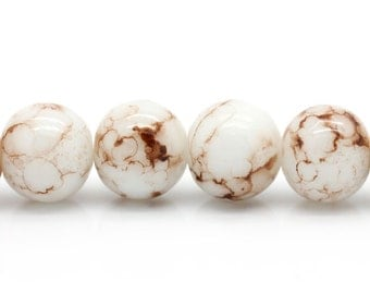 30 glass beads - 10 mm - Brown white / B1-0031