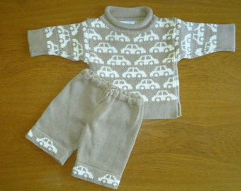 3-6 months Baby Handmade Outfit, Cappuccino/ Cream