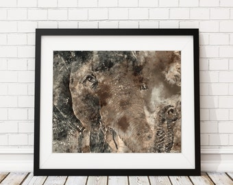 Elephant Watercolor Print - Elephant Painting - Elephant Watercolor Painting - Watercolor Art Print - Sepia Home Decor - Animal Art Wall Art