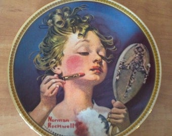 Girl Putting on Makeup - Norman Rockwell Limited Edition - Vintage Collector's Plate