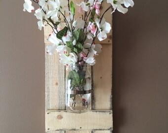 Rustic mason jar sconces, mason jar decor, vase, pallet wood