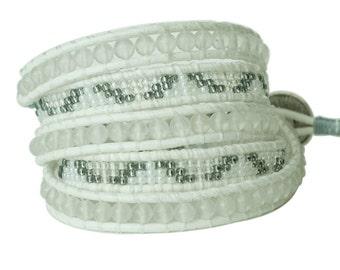 White Agate & Toho Seed Beads 5x Wrap Bracelet