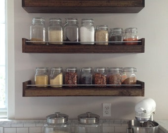 Industrial Floating Shelf, Jar Storage, Spice Rack