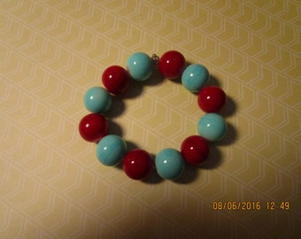 red and blue chunky bracelet