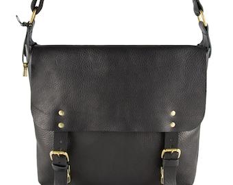 Aubrey Black Large Leather Satchel