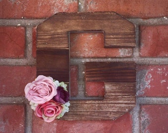 Rustic Wall Letter, Floral Wall Letter, Wooden Wall Letter, Floral Monogram, Rustic Wedding, Door Decor, Wall Decor, Nursery Letter