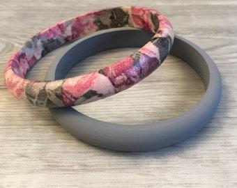 Pink and grey bangle set handmade by Acadadia