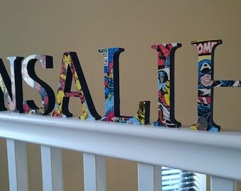 Personalised Freestanding Wooden Children's Nursery Wooden Name Letters- Marvel, Gift, Nursery
