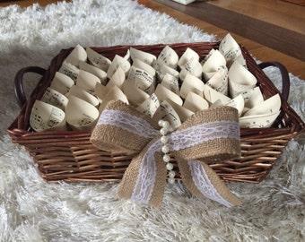 Rustic wedding Confetti cone basket