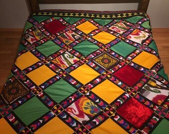 Kyrgyz traditional patchwork bedspread, quilt from Kyrgyzstan, Central Asian patchwork,