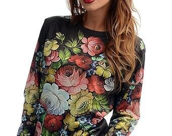 "Full print trendy, bright, unusual SWEATSHIRT ""PETRYKIVKA FLOWERS"""