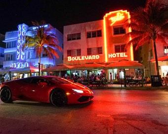 Miami Beach at Night Canvas Print, Miami FL, Miami Beach Canvas, Miami Canvas, Miami Street Photo, Bright lights Miami, Miami Canvas