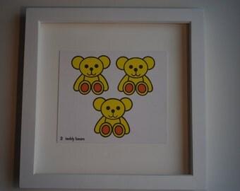 3 teddy bears