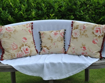 "Rose floral country cottage cushion 20""x20"""