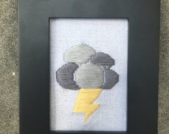 Framed Storm Cloud Embroidery