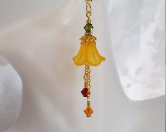 Fall Flower Dangle Earrings with Swarovski Crystals Siam Red, Tangerine Orange, Olivine Green