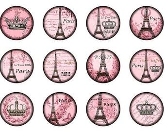 Paris Bottle Cap Magnets set of 5