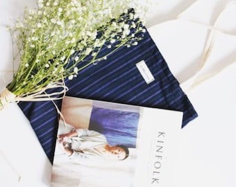 Handmade blue stripe tote bag