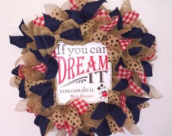 Rustic Disney Wreath, Mickey Mouse Wreath, Burlap Wreaths, Door Hanger, Deco mesh Wreath, Front door wreaths, Made to Order