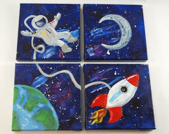 Outer Space Painting Canvas Quad, Kids Room, Teens Room, Girls Room, Boys Room, Art Decor, Astronaut, Moon, Rocketship, Space