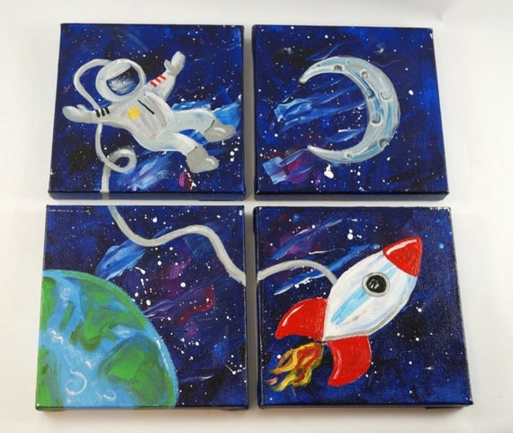 outer space painting canvas quad kids room teens room girls