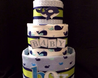 Nautical Whale Diaper Cake - Ocean Diaper Cake - Baby Shower Gift - New Baby Gift