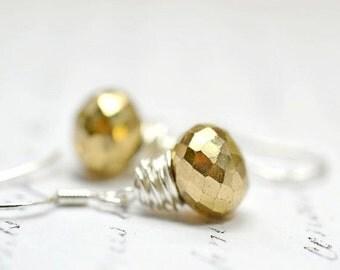 Tiny Pyrite Earrings, Modern Gold Silver Gemstone Drop Earrings, Bohemian Jewelry, Wire Wrap Jewelry, Minimalist Earrings Fools Gold Jewelry
