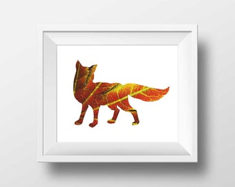 Abstract Fox Silhouette Digital Print