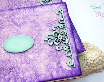 Purple Wedding set with Vintage Lace Embellishmnets - Guest Book and Photo album