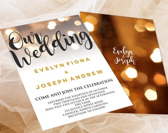 All in 1 Printable and Editable Wedding Invitation Template Campton Style