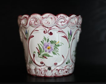 SALE!!! White Planter with a Handpainted Pink, Blue and Green Floral Design made in Portugal