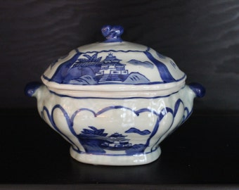 Small Vintage 2 Piece Blue and White Asian Dish with Lid and Handles