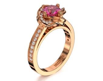 Decorum 14K Rose Gold 1.0 Ct Pink Sapphire Diamond Floral Engagement Ring G1087-14KRGDPS