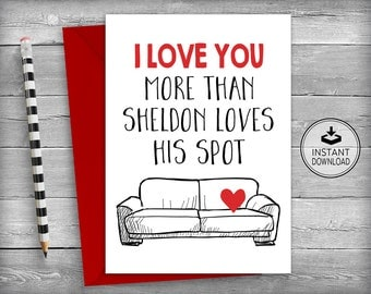 Valentine's Day Card | Romantic Card | Love Card | Anniversary Card | Valentines Day Card | Big Bang Theory | Printable Card | Digital Card