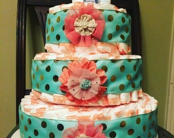 Colorful Coral Diaper Cake