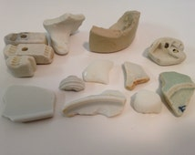Washed up Sea Pottery, Bulk 13 Pieces of unique beach treasure, Great for craft supplies & Tools