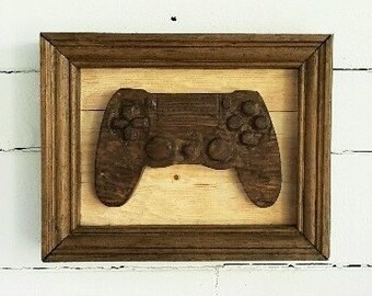 Game Cave/ hand carved/plaque/Fathers Day/Man Cave