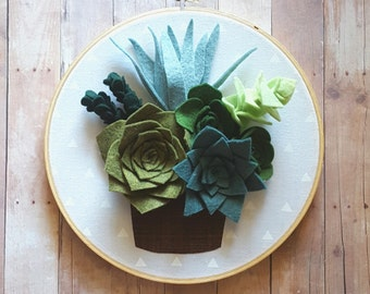 Potted felt succulents hoop art