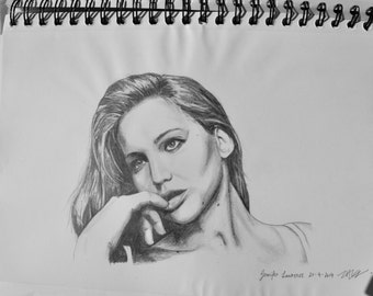 Jennifer Lawrence/ Hunger Games Katniss Everdeen pencil drawing